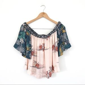 Free People multi floral print off shoulder top